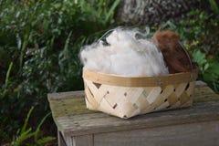 Korg som fylls med alpacaullbeklädnadfiber Arkivbild