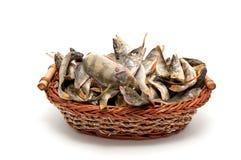 korg torkad fisk mycket Arkivfoto