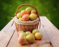 Korgar av äpplen Arkivbild
