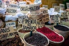 Korgar av kryddor på stallen i gatamarknad Arkivfoto