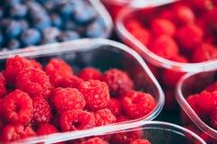 Korgar mycket av hallon och blåbär på bönderna Marke Royaltyfri Foto
