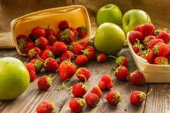 Korgar och äpplen Fotografering för Bildbyråer
