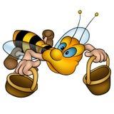 korgar som flyger den små waspen royaltyfri illustrationer