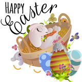 Korgen dekorerade easter ägg på grönt gräs för ferieberöm, påsk för färgrika älskvärda kaniner för vårsäsong lycklig Arkivfoton