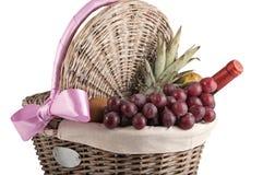 korgfrukter har picknick wine Royaltyfria Foton