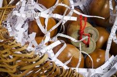 korgmynt dekorerade äggfengshui Arkivfoto