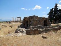Korinth, die Ruinen einer alten Struktur lizenzfreie stockfotografie