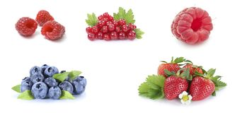 Korinthe, Erdbeere, Blaubeere, Himbeere lokalisiert auf Weiß Lizenzfreies Stockfoto
