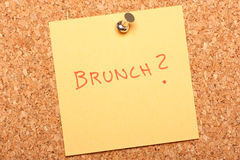 Kork. Cork background with a note. (Brunch Stock Image