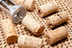 Kork av en wineflaska med korkskruvet Fotografering för Bildbyråer