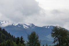 Korkade berg för snö i alaskabo vildmark Arkivbild