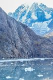 Korkat berg för snö i glaciärfjärden, Alaska royaltyfri bild