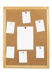 Korkbräde med anmärkningar för tomt papper Fotografering för Bildbyråer