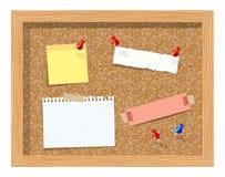 Korkbrädet med den klämde fast pappers- notepaden täcker den realistiska vektorillustrationen Arkivbilder