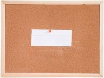 Korkenbrett und Weiß des leeren Papiers Lizenzfreies Stockbild