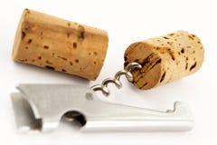 Korkenzieher- und Weinsicherungen Lizenzfreie Stockfotos