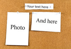 Korkowa deska z kartami Obrazy Stock