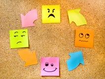 Korkowa deska z kolorową poczta swój reprezentuje różnorodni emoticons z różnorodnym emoci komunikaci pojęciem Obrazy Royalty Free