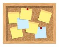Korkowa deska z prześcieradłami papier dla notatek Tło Zdjęcia Stock
