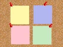 Korkowa deska z prześcieradłami papier dla notatek Wektorowy tło Zdjęcie Stock