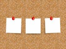 Korkowa deska z prześcieradłami papier dla notatek Wektorowy tło Fotografia Royalty Free