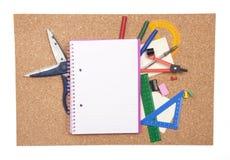 Korkowa deska z stacjonarnym Zdjęcie Stock