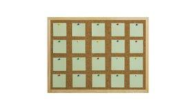 Korkowa tablica informacyjna z drewnianą ramą, przypięty barwiony papier, odizolowywający na bielu zdjęcie stock