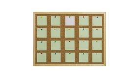 Korkowa tablica informacyjna z drewnianą ramą, przypięty barwiony papier, odizolowywający na bielu obrazy stock