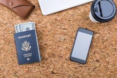 Korkowy desktop z paszportem Obrazy Royalty Free