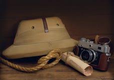 Korkowy ster i kamera Zdjęcie Royalty Free