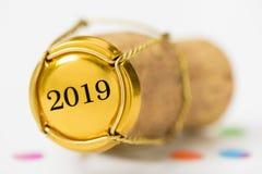 Korkpropp av champagne med datumet 2019 för ` s för nytt år royaltyfria bilder