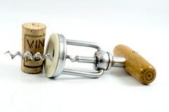 Korkskruv och kork Royaltyfri Fotografi