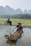 Kormoran, ryba mężczyzna i Li sceneria Rzeczny widok z mgłą w sprin, Zdjęcie Stock