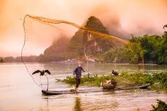 kormoranu chiński rybak Zdjęcia Royalty Free