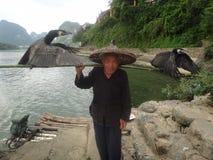 Kormoranu rybak w Chiny Zdjęcie Stock