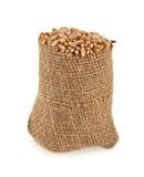 Korn av vete i en säck Arkivfoto