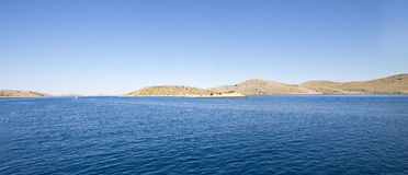 Kornati islands panoramic view. Spectacular panorama of Kornati archipelago. Most of the islands of the Kornati archipelago are deserted, but some small houses Stock Images