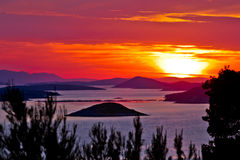 Kornati national park archipelago sunset view Stock Photo