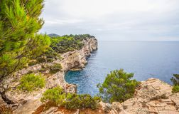 Kornati wyspy Falezy Telascica w parku narodowym Kornati, Adriatycki morze w Chorwacja zdjęcia royalty free