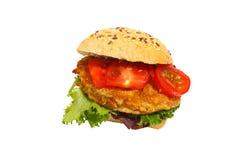 Kornbrötchen, gebratenes Schweinefleisch, Kopfsalat, Tomaten, lokalisiert lizenzfreies stockfoto