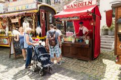 KORNELIMUENSTER, GERMANY, 18th June, 2017 - People browse the historic fair of Kornelimuenster on a sunny warm day. Stock Photo