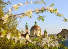 Korniakta Tower and Church of the Blessed Eucharist former Domi. Nican convent church, Lviv, Ukraine stock photography