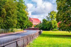 Kornik, Poland 2018-09-22, Beautiful Kornik castle surrounded by a pond by the Aboretum park. royalty free stock photo