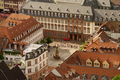 Kornmarkt square, Heidelberg, Germany. Kornmarkt square, view from Castle, Heidelberg, Germany Royalty Free Stock Image