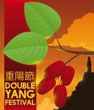 Kornoelje en Mens over Bergsilhouet in Dubbel Yang Festival, Vectorillustratie vector illustratie