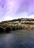 Kornwalijski miasteczko i most Zdjęcie Royalty Free