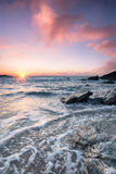 Kornwalijski Plażowy zmierzch obrazy stock