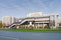 Koroleva street with monorail station Stock Image