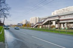 Koroleva street with monorail station Royalty Free Stock Image