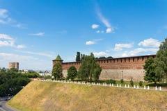 Koromyslova torn (strålen), Kreml, Nizhegorodskiy område, Arkivbilder